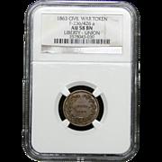 NGC Certified Civil War Token Copper Cent (1863) F-235/426 a