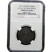 NGC Certified Canada Token Copper Coin (1816) UC-6A2