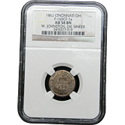 NGC Certified Indian Head Copper Cent (1863) Cincinnati OH F-165CF-1a