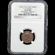 NGC Certified Civil War Token Copper Cent (1863) F-112/396 a