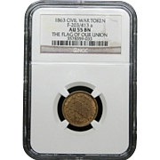 NGC Certified Civil War Token Copper Cent (1863) F-203/413 a