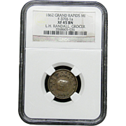 NGC Certified Copper Coin Token (1862) F-370J-1 a