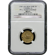 NGC Certified Coin New York, NY PH. J. Seiter's Market (1861-65) F-630BQ-1 b