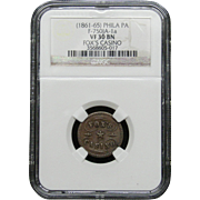 NGC Certified Copper Coin Token (1861-65) F-750JA-1 a