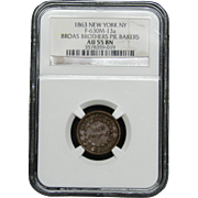 NGC Certified Copper Coin Cent Token (1863) F-630M-13 a