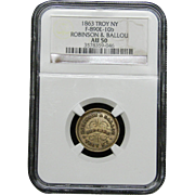 NGC Certified Troy NY Grocers Token (1863) F-890E-10 b
