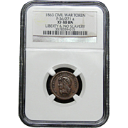 NGC Certified Civil War Token Copper Cent (1863) F-36-271 a