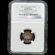 NGC Certified Civil War Token Copper Cent (1863) F-240/341 a