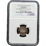 NGC Certified Civil War Token Copper Cent (1863) F-240/341 a