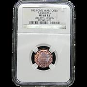 NGC Certified Civil War Token Copper Coin (1863) F-236-426 a