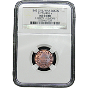 NGC Certified Civil War Token Copper Coin (1863) F-236-426 a