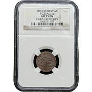 NGC Certified Copper Coin Token (1863) F-225AG-1 a