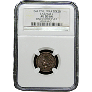 NGC Certified Civil War Token Copper Cent (1864) F-51/342 a
