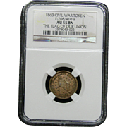 NGC Certified Civil War Token Copper Cent (1863)F-208/410 a