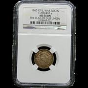 NGC Certified Civil War Token Copper Cent (1863)F-208/410 a