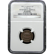 NGC Certified Copper Coin Token (1863) F-10A-2 a
