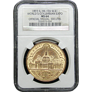 NGC Certified Official Medal World's Columbian Expo HK-155