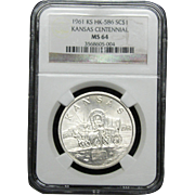 NGC Certified Silver Dollar Coin (1961) Kansas Centennial HK-586