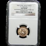 NGC Certified Civil War Token Copper Cent (1863) F-118/418 a