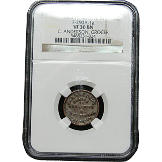 NGC Certified Copper Coin Token (1864) F-290A-1 a