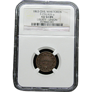 NGC Certified Civil War Token Copper Cent (1863) F-236/426 a