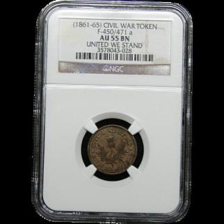 NGC Certified Civil War Token Copper Cent (1861-65) F-450/471 a