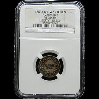 NGC Certified Civil War Token Copper Cent (1863) F-236/426 a