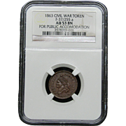 NGC Certified Civil War Token Copper Cent (1863) F-37/255 a