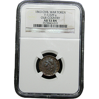 NGC Certified Civil War Token Copper Cent (1863) F-1/229 a
