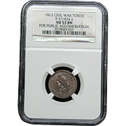 NGC Certified Civil War Token Copper Cent (1863) F-37/434 a