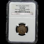 NGC Certified Civil War Token Copper Coin (1863) F-207/409 a