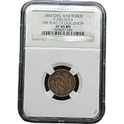 NGC Certified Civil War Token Copper Cent (1863) F206-323 a