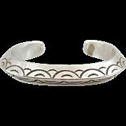Vintage Estate Sterling Silver Stamped Cuff Bracelet