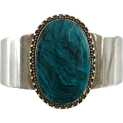 Vintage Estate Sterling Silver and Turquoise Signed Cuff