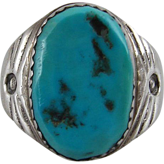 Vintage Estate Sterling Silver and Turquoise Ring