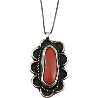 Vintage Estate Sterling Silver and Coral Pendant Necklace