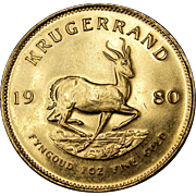 1980 South Africa 1 Troy oz Gold Krugerrand Coin