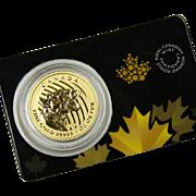 2015 Canada 1 Troy oz Gold Growling Cougar .99999 Coin w/ Assay Card