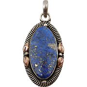 Vintage Antique Estate Sterling Silver Lapis Pendant Necklace