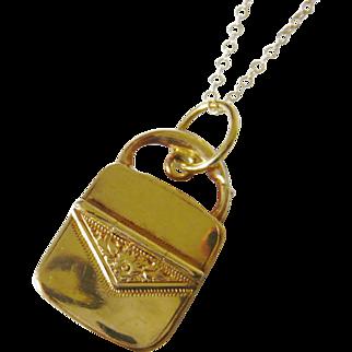 Victorian 10kt Gold Purse Charm Locket