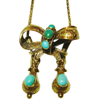 Victorian 18kt Gold Turquoise Bow Slide Necklace