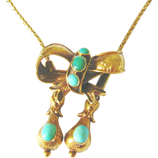 Victorian 15kt Gold Turquoise Bow Slide Necklace