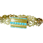 Antique 15kt Gold Turquoise Bracelet with Intricate Hinged Link