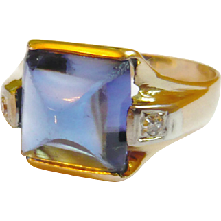 Art Deco 14kt Gold Diamond & Synthetic Sapphire Ring