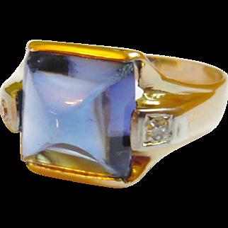 Art Deco 14kt Gold Diamond & Synthetic Sapphire Ring