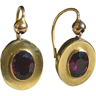 Victorian Almandine Garnet 15ct Gold Earrings