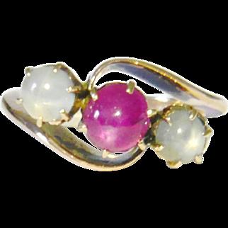 Edwardian Star Ruby & Lilac Star Sapphire Trilogy Ring