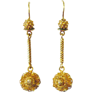 Victorian 15kt Gold Cannetille Earrings