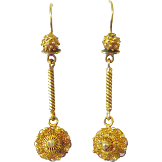 Victorian 15kt Gold Cannetille Earrings