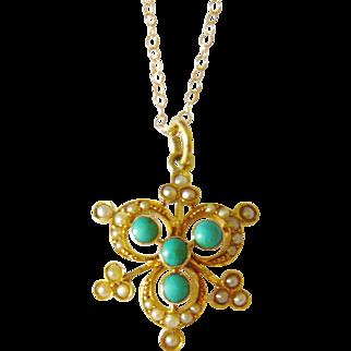 Edwardian 15kt Gold Turquoise & Pearl Shamrock Pendant
